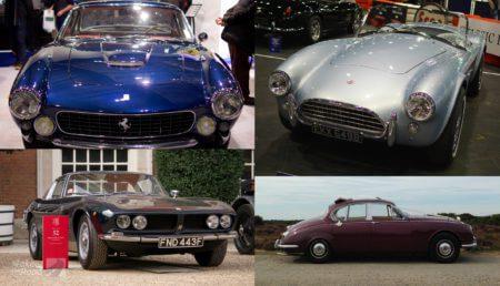 Compilation photo of a Ferrari Lusso, AC Cobra, Iso Grifo and a Daimler V8 250