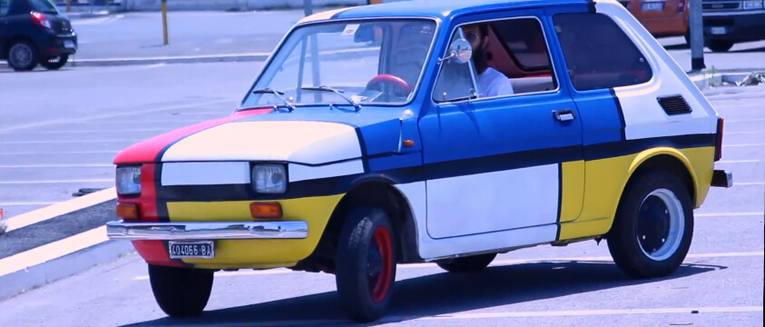 Fiat 126 with Mondrian tribute paint job