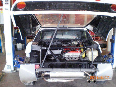 Lancia Rally 037 with rear engine cover open
