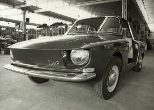 Old photo of the Hillman Zimp at the Zagato factory