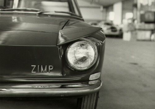 Old photo of the Hillman Zimp with it's headlight eyebrow raised