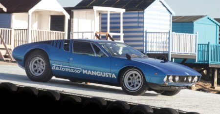 De Tomaso Mangusta parked on a slipway