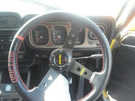 Momo steering wheel in a 1973 Dodge Colt GS Coupe