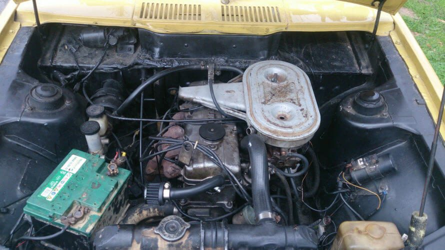 1973 Dodge Colt GS Coupe engine bay