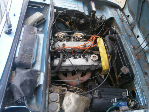 1975 Fiat 124 Coupe engine bay