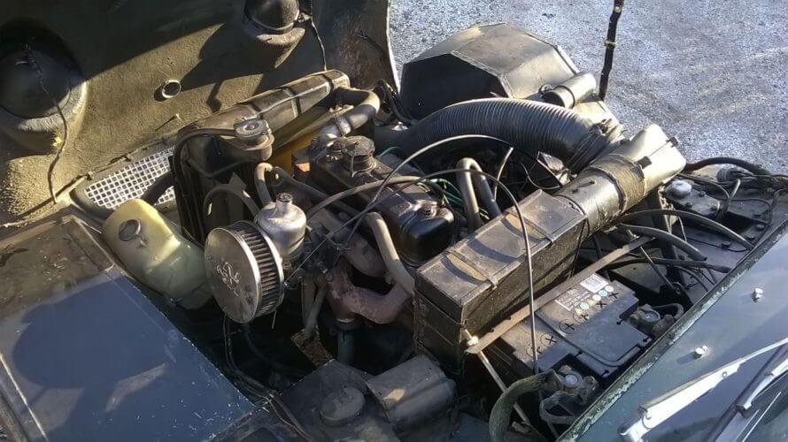 1958 Austin Healey Sprite engine bay