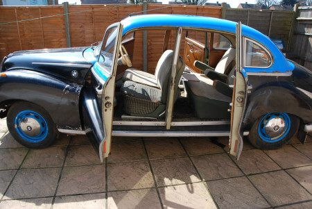 1955 BMW 502 side doors open