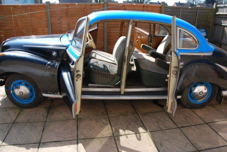 1955 BMW 502 side doors open