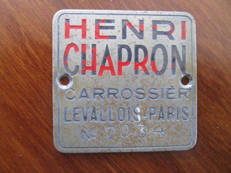 1953 Delahaye 235 body number badge