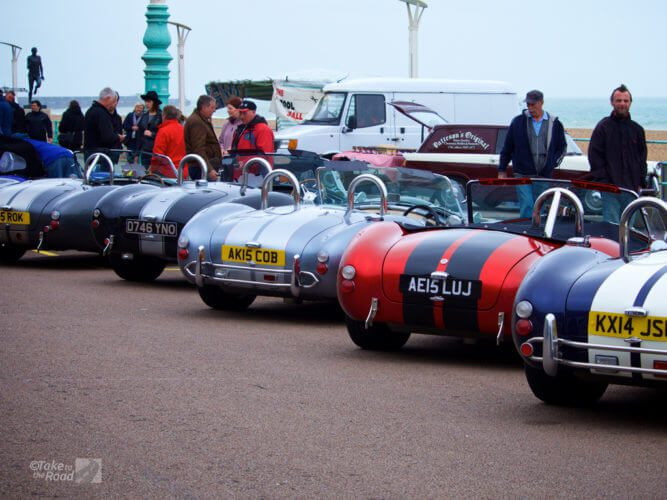AC Cobras on The Waterfront in Brighton at the London to Brighton Classic Car Run