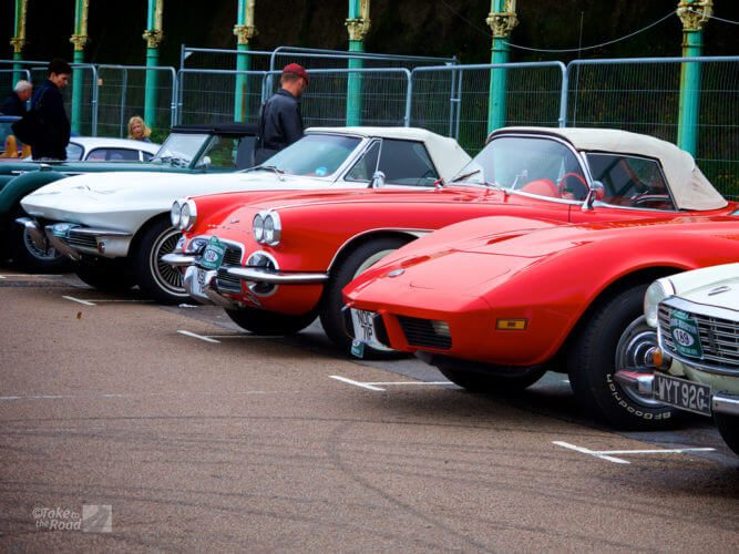 Three Corvettes on The Waterfront in Brighton at the London to Brighton Classic Car Run