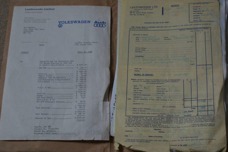 1979 VW Golf GTi Mk1 Series 1 paperwork