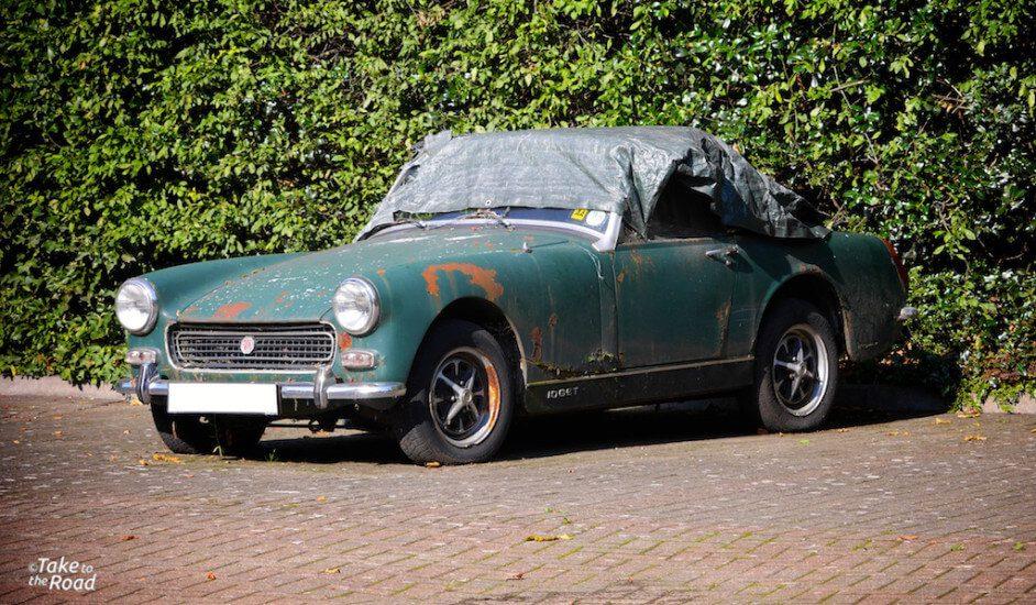 1974 MG Midget abandoned classic cars