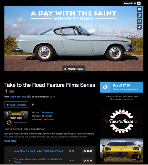 Take to the Road Vimeo On Demand page