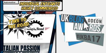 Take to the Road Highly Commended at the 2017 UK Blog Awards